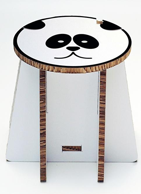 Taburik Panda Sandıklı Tabure Renkli